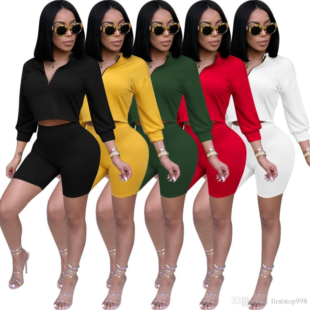 caf1c0074bc3 2019 Sexy Set Women Clothes Zip Crop Tops+Shorts Sweat Suits Summer Outfits  Two Piece Matching Sets Casual Tracksuit From Firststop998