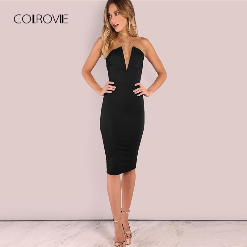 32c1cd139ac7 COLROVIE Black Sexy Backless Deep V Neck Strapless Bandeau Party Dress  Elegant Summer Dress 2018 Solid Women Bodycon Red Evening Dress Dressess  From Xinpiao ...