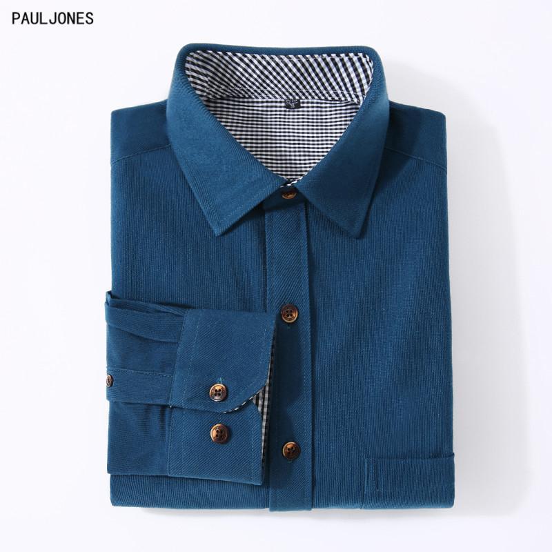 24e3d2e850 Compre PAULJONES Calidad Casual Slim Fit Para Hombre Camisas De Pana Azul  Marino Verde Hombres Camisas Con Mangas Largas Barato Ropa Masculina 33xx A   25.4 ...