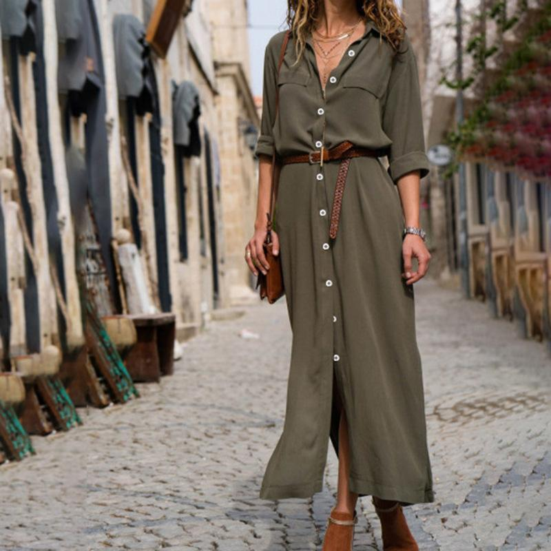 857bff8d14 2019 Autumn Winter Button Side Split Long Dress Women Solid Casual Loose  Dress Ladies Long Sleeve Midi Dresses Vestidos Vintage Dress Ball Gown From  ...