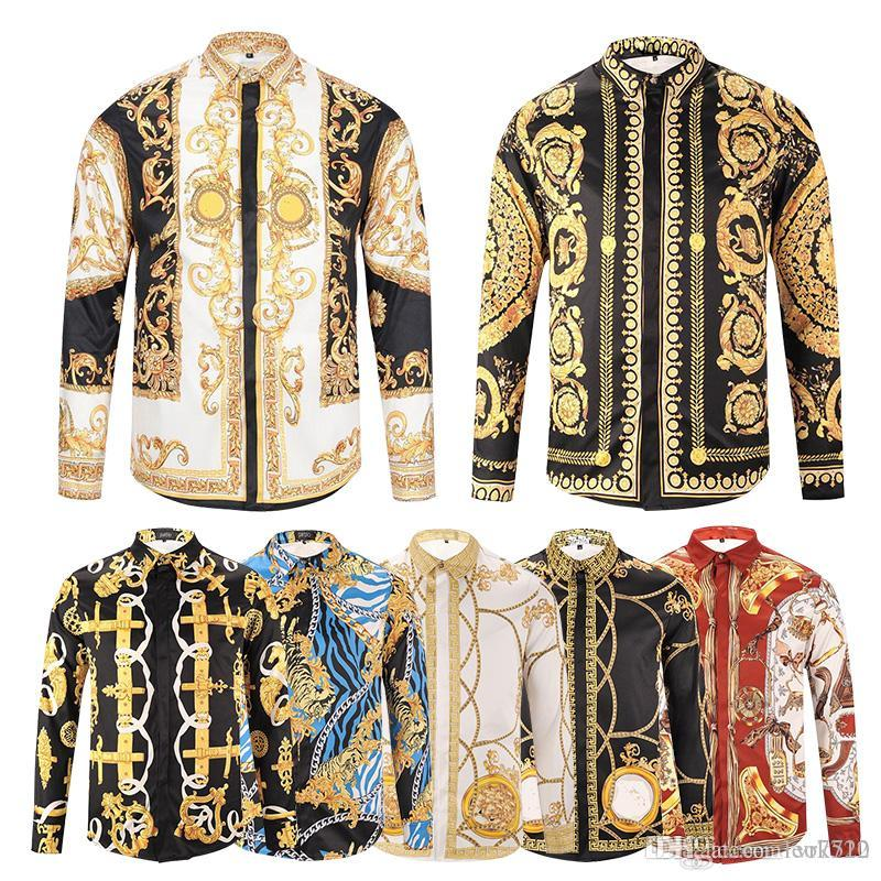 c76a79a51e 18ss 3 d printing tiger new men's fashion luxury fashion leisure designer  luxury leisure shirt long sleeve men medusa Asian size M-3Xl