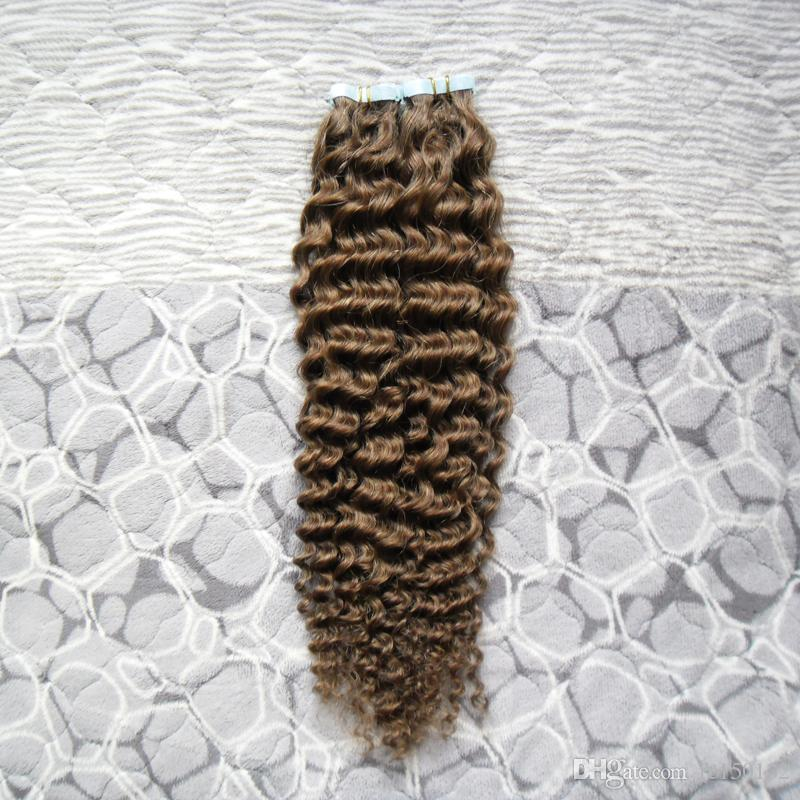 # 6 Médio Brown afro kinky encaracolado Extensões de Cabelo Fita 100g 40 pçs / set mongol kinky curly Trama Da Pele Do Cabelo Humano Máquina Made Remy