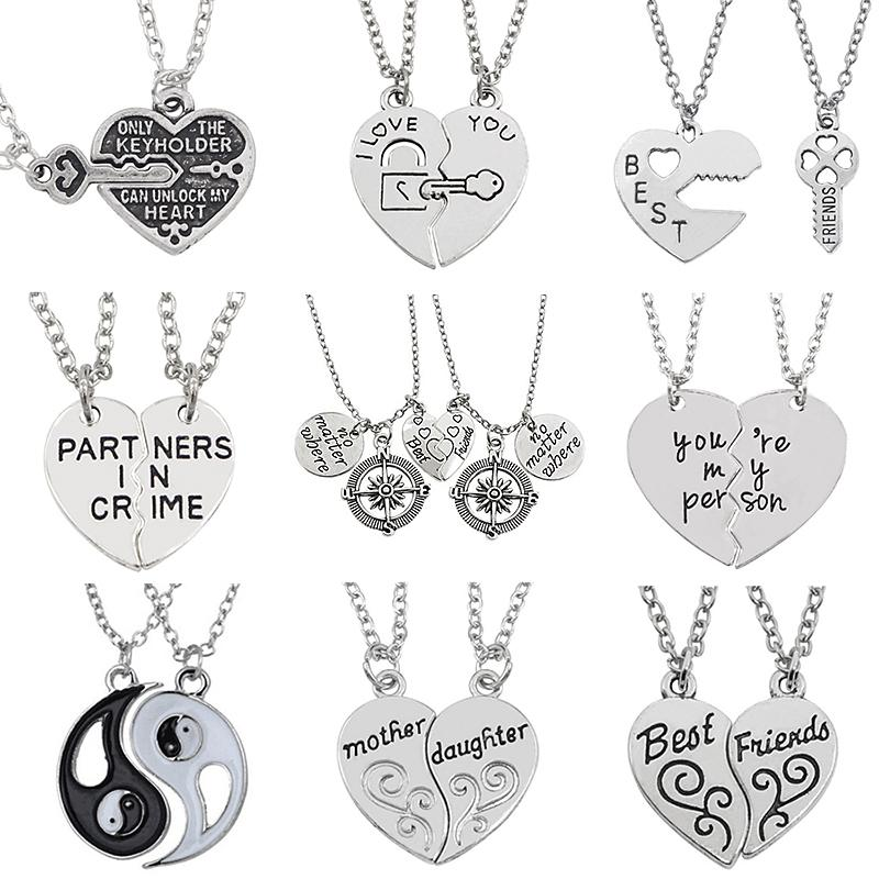 I Love You Best Friends Jewelry Puzzle BFF Key Lock Compass Tai Chi Broken  Heart Pendant Necklaces For Women Men Couple Collier