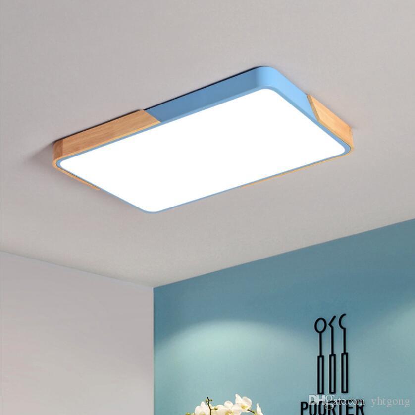 Nórdico Rectángulo En V Cocina Sala Luces De Led Techo Estar Para El 220 Estilo Nueva Lámpara Madera Fixtur Montado Iluminación rhtQdxsC