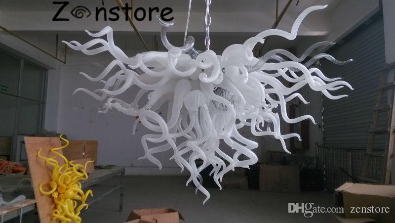 Contemporary Ceiling Chandelier Light Fixture Blown Glass Ceiling Lamp white Color LED Crystal Ceiling Chandeliers