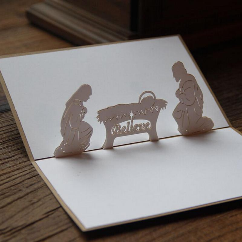 Laser Cut Custom Greeting Cards With Birth Of Jesus 3D Pop Up For Christmas Funny Birthday Card From Copy02