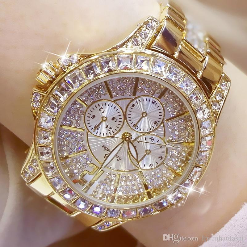 325eabb902d Moda Feminina Relógios De Quartzo Strass Diamante Casual Relógio De Pulso  para Senhoras De Prata Relógios De Ouro Moda Diamante Relógio De Alta  Qualidade Da ...