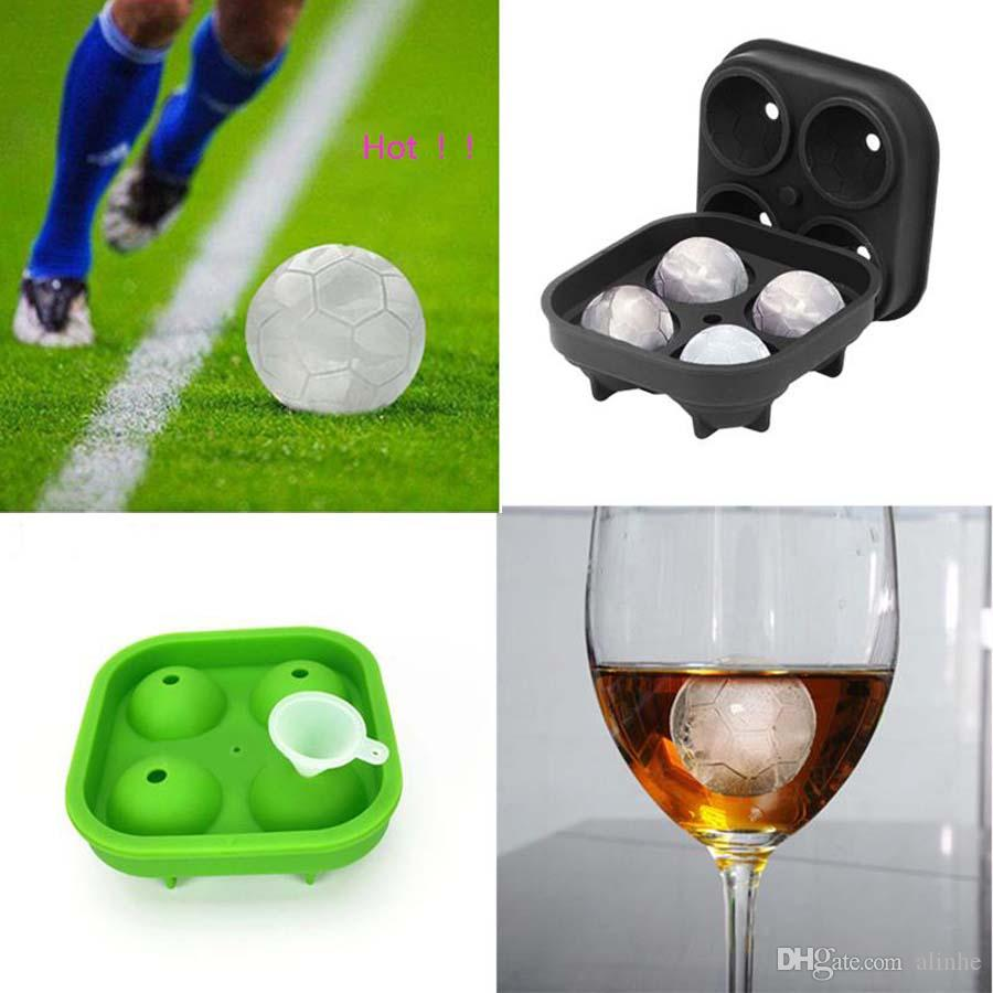 3D Football Ice Mold 4 Cells Ice Cube Ball Tray Bar Party Whiskey Cocktail Ice Cube Silicone Chocolate Candy Cake Mould Free Shipping