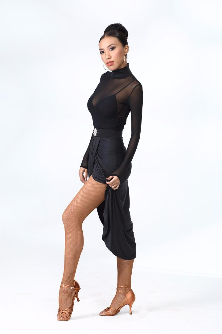 1727c9fde27b8 2019 ZYM Dance Style Latin Practice Wear Transluscent Long Sleeve Body  ZYM1791 & Irregular Skirt MD1627 From Vineger, $65.09 | DHgate.Com