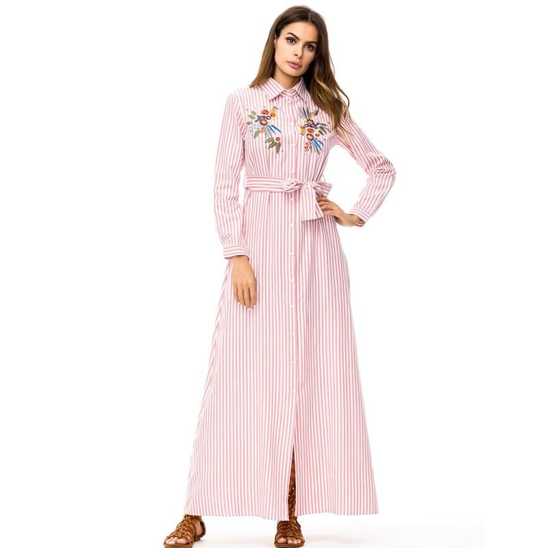 6e0de08331e M-4XL Plus Size Dresses For Women Muslim Long Sleeve Striped Maxi ...