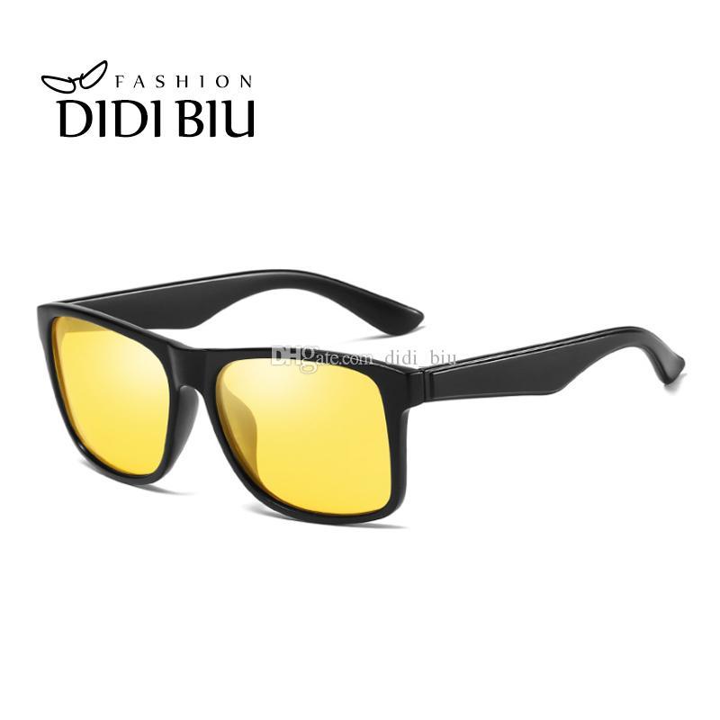 bf437cd1db DIDI Polarized Night Vision Yellow Sunglasses Women Men Square ...