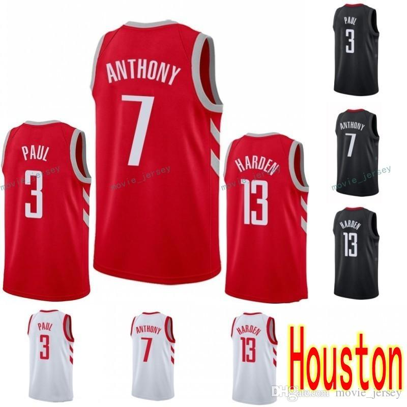 3e26fc71ca2 2018 2018 New Houston 7 Carmelo Anthony 13 James Harden 3 Chris Paul Jersey  10 Eric Gordon 4 Pj Tucker 2019 Mens Stitched Black White Red From  Movie jersey