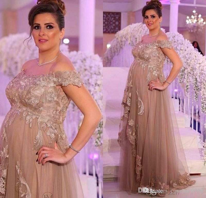 Elegant Champagne Maternity Evening Dresses Lace Applique A Line ...