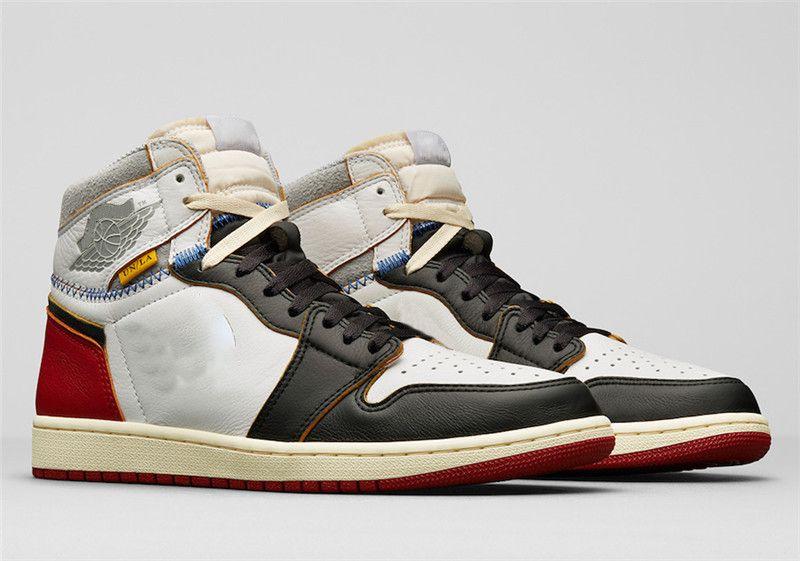 meet f8aa6 b02b2 2018 Release Authentic 1 Union Los Angeles Black Toe VARSITY High OG NRG 1S  White LA Basketball Shoes Man Sports Sneakers BV1300-106