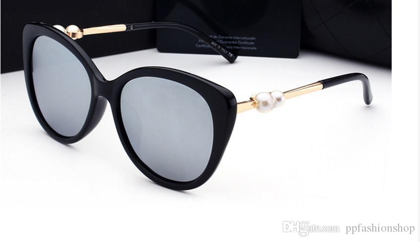 Moda pérola designer de óculos de sol de alta qualidade marca polarizada lente óculos de sol óculos para mulheres óculos de armação de metal 5 cores 2039