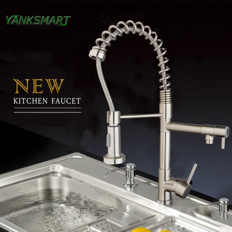 2019 yanksmart uk kitchen flexible pull down solid brass brushed rh dhgate com