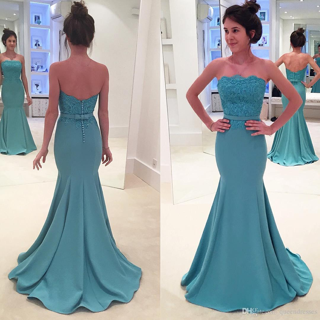 3ca95abc4b58 Simple Long Evening Dresses With Lace Strapless Sleeveless Satin Mermaid  Evening Gowns Floor Length Formal Women Special Occasion Dresses My Evening  Dress ...