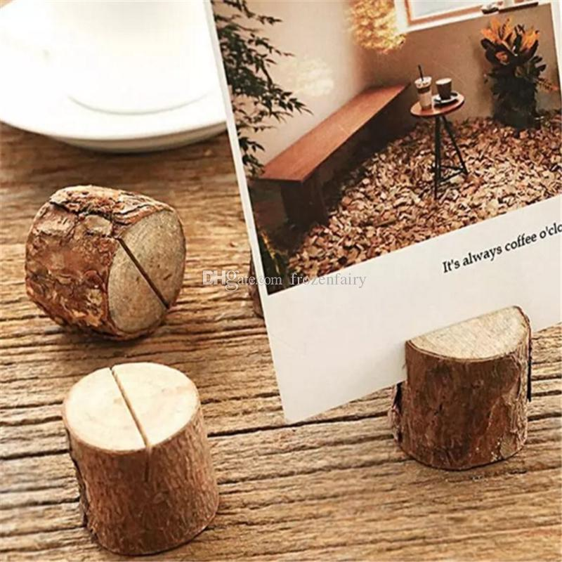 wood wedding card holders%0A      Creative Wood Place Card Photo Number Name Holder For Vintage Rustic  Baby Shower Wedding Party Table Decoration Aa                    From  Frozenfairy