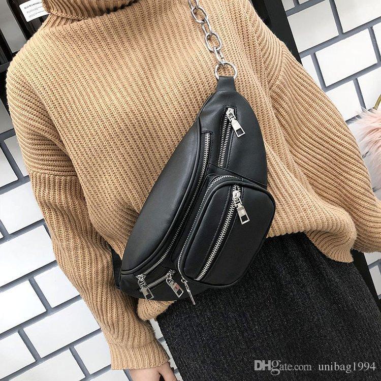 f7579145b28 Fashion Black PU Leather Fanny Pack Belt Bag Women Waist Packs Chains  Multifunctional Travel Waist Bag Punk Style Cross-body Shoulder Bags