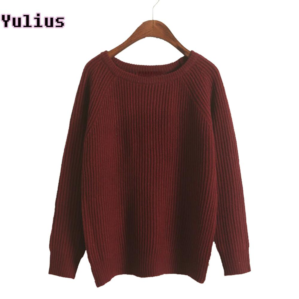 63337e2d8c4 2019 2018 Korean Style Female Soft Knitted Pullover Autumn Winter Thick  Women Sweater Gray Burgundy Loose Crew Neck Jumper Sweaters S18100802 From  Jinmei02