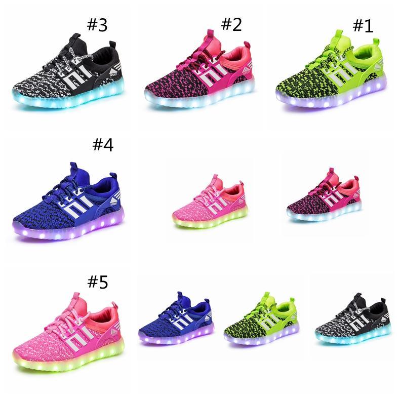 227efc561cb1c Acheter Enfants LED Chaussures Enfants Casual Luminescence Chaussures  Coloré Rougeoyant Bébé Garçons Filles Sneakers USB Charge Light Up Accueil  Chaussures ...