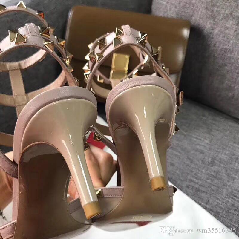 2018 Designer de mulheres de salto alto partido moda rebites meninas sexy apontou sapatos sapatos de dança sapatos de casamento sandálias alças duplas