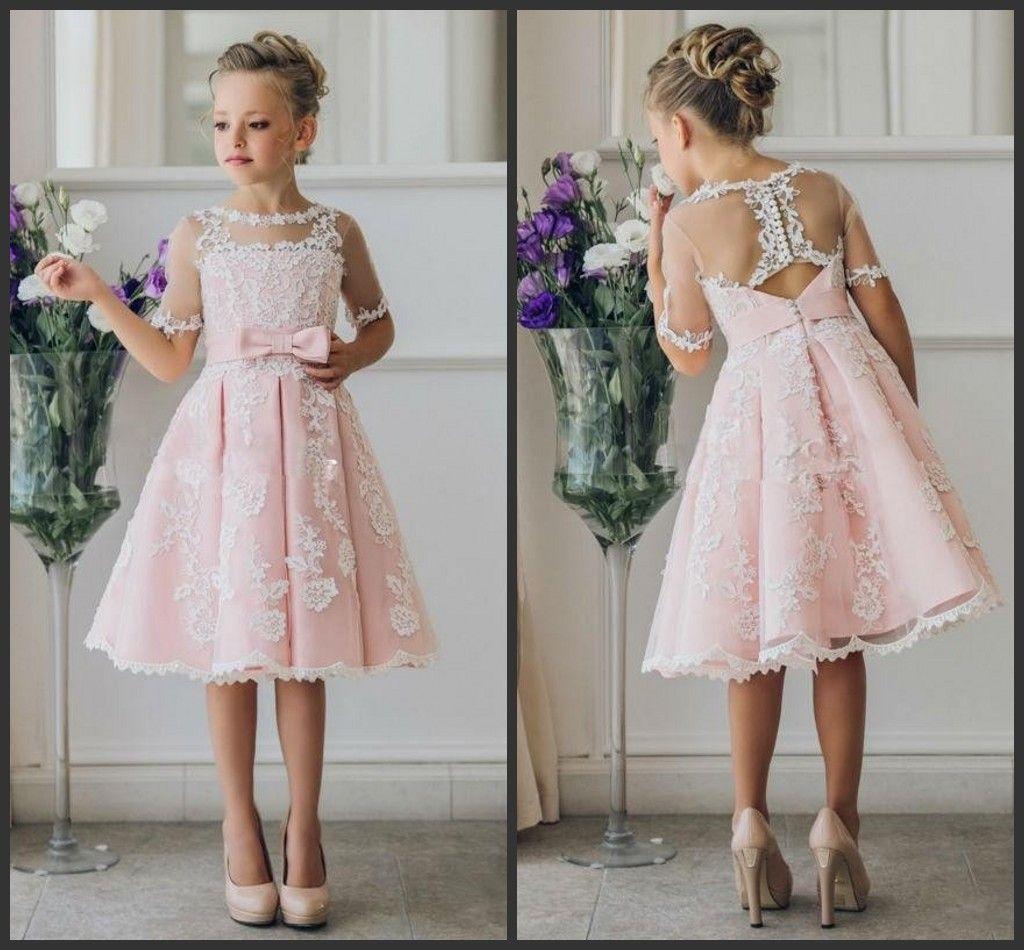 Wedding Hairstyles Junior Bridesmaids: Knee Length Lace A Line 2018 Junior Bridesmaid Kids Formal