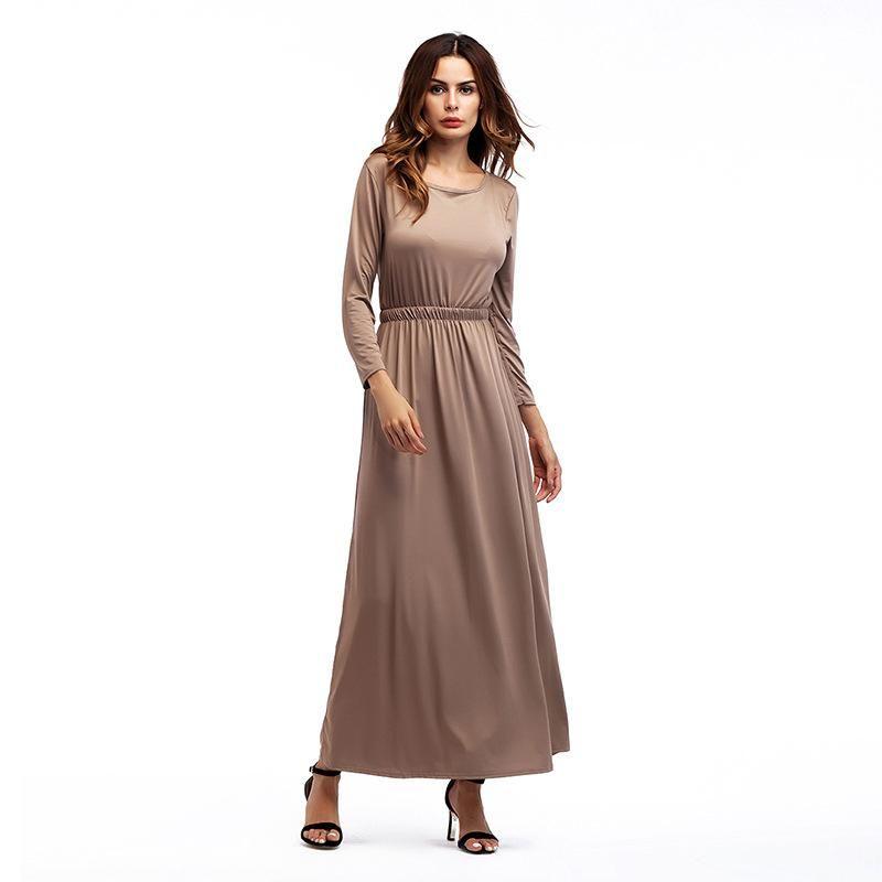50ec8d6e568 Women S Maxi Dress Autumn Long Sleeve O Neck Boho Beach Party Solid Casual  Khiaki Gray Black Green Long Dresses Lace Summer Dresses Cheap Dress In  White ...