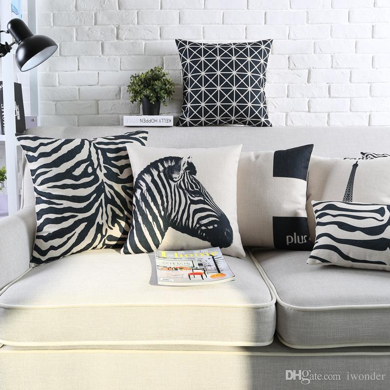 geometric zebra crown cushion cover 13 style black and white 45x45cm rh dhgate com