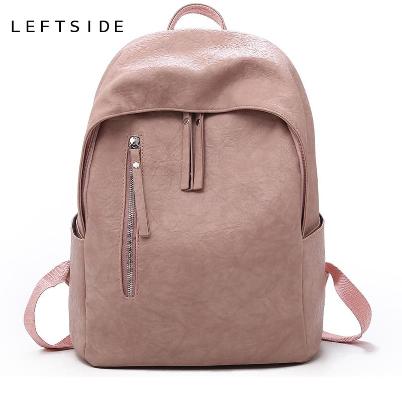 LEFTSIDE Backpacks For Women 2018 Ladies Daily Back Pack Leather High  Quality School Bag Shoulder Bag For Youth Travel Bags Bookbags Backpack  Purse From ... e6155a905deb0