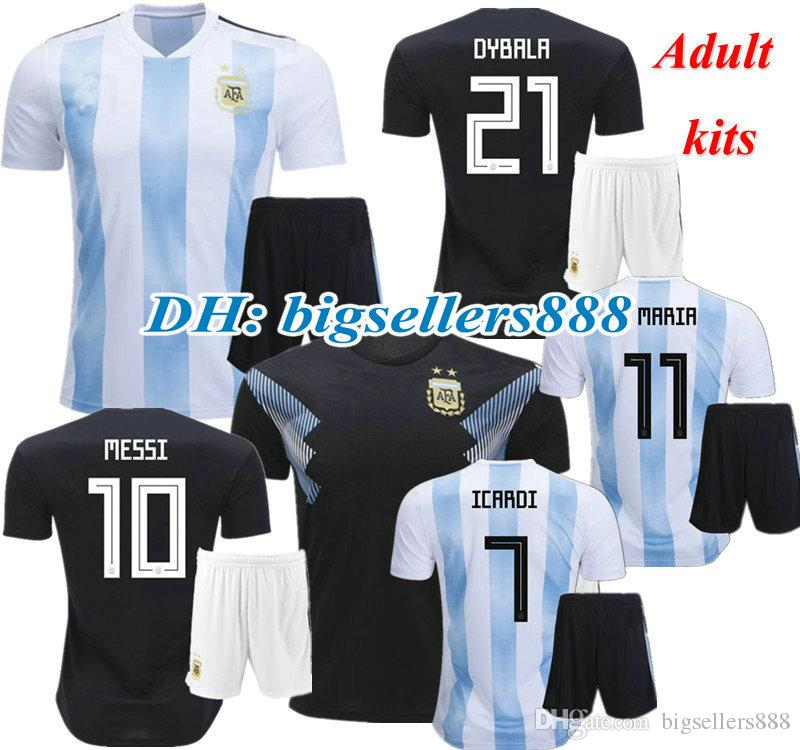 9c23f041c 2019 DYBALA MESSI ICARDI 2018 World Cup Argentina Home Soccer Jersey Kits  BIGLIA AGUERO DI MARIA HIGUAIN Away Best Quality 18 19 Football Shirt From  ...