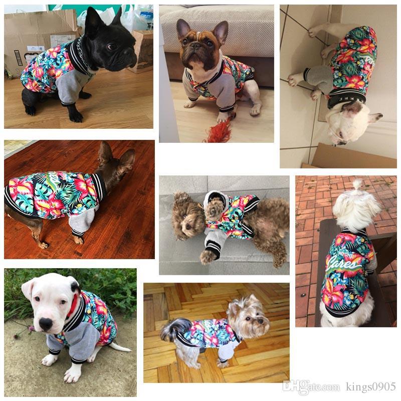 Ausgefallene Hundebekleidung Wintermantel Jacke Hawaii Aloha Hundebekleidung Baumwolle Gepolsterte Warme Haustier Jacke Blumendruck Hundebekleidung