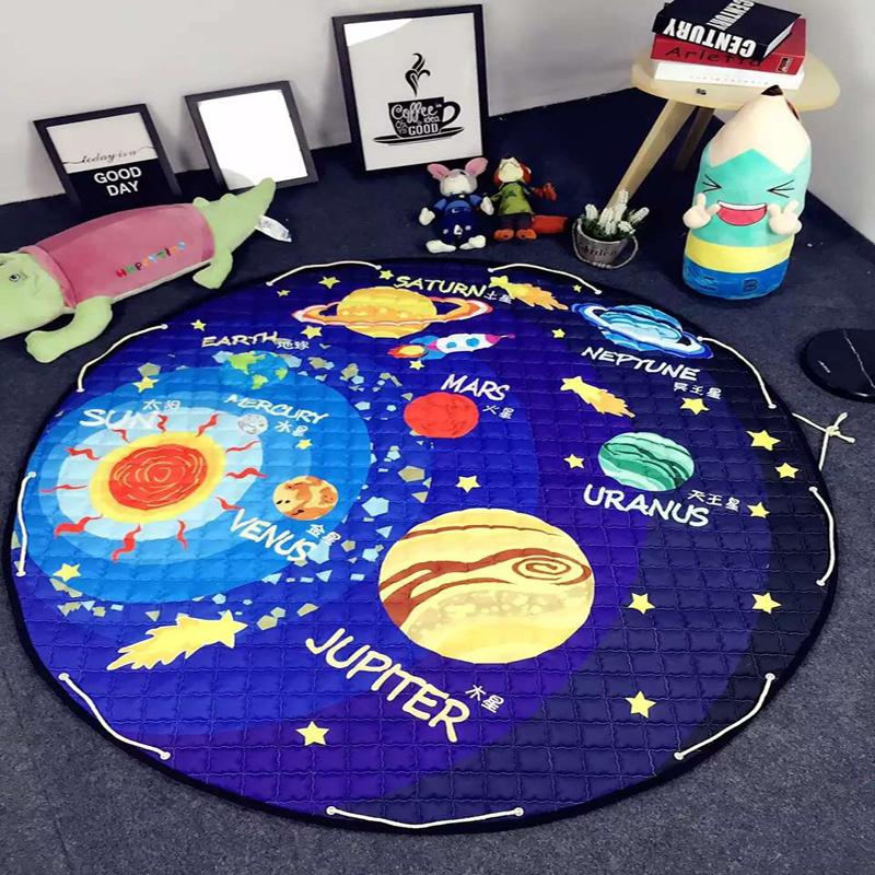 solar system planets pattern polyester fabric quilting kids children s mat round carpet diameter 150 cm toys storage bags rh dhgate com