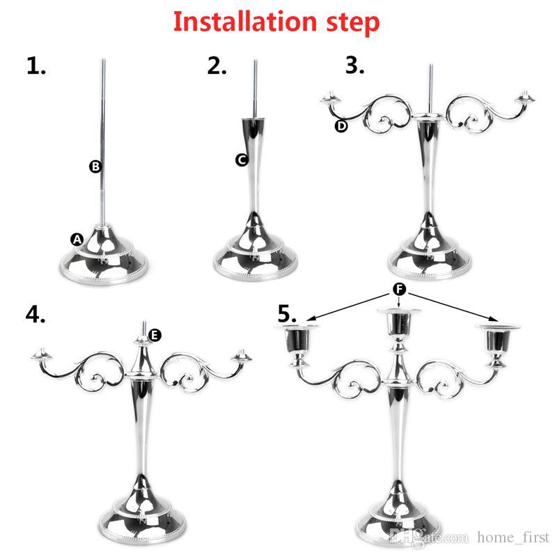 European Exquisite Metal Holders 3-arms Retro Romantic Candle Holder Candlelight Dinner Home Furnishing Wedding Props Hotel Decoration