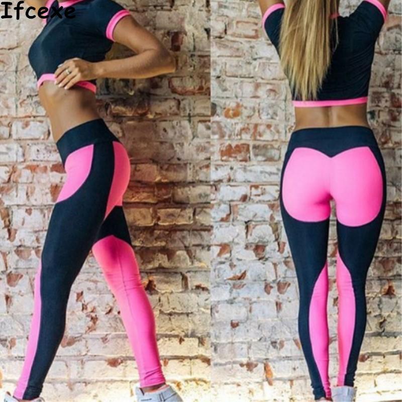 e6d41e53c4bb2 Hot Sale Women Yoga Sets Gym Sports Crop tops + Elastic Patchwork Pant  Fitness Running Suit Clothing Workout Sport Wear
