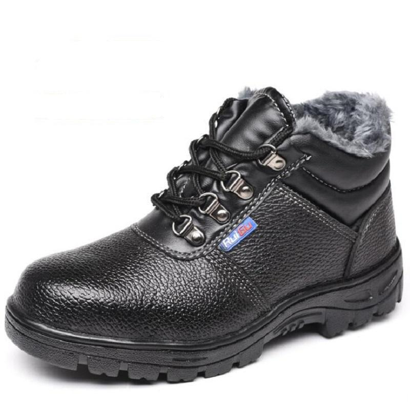 e00ddd0a6f0 AMSHCA Puncture Proof Men Work Safety Boots Steel Toe Indestructible Shoes  Men s Winter Ankle Boot Anki Skid Snow Leather Black