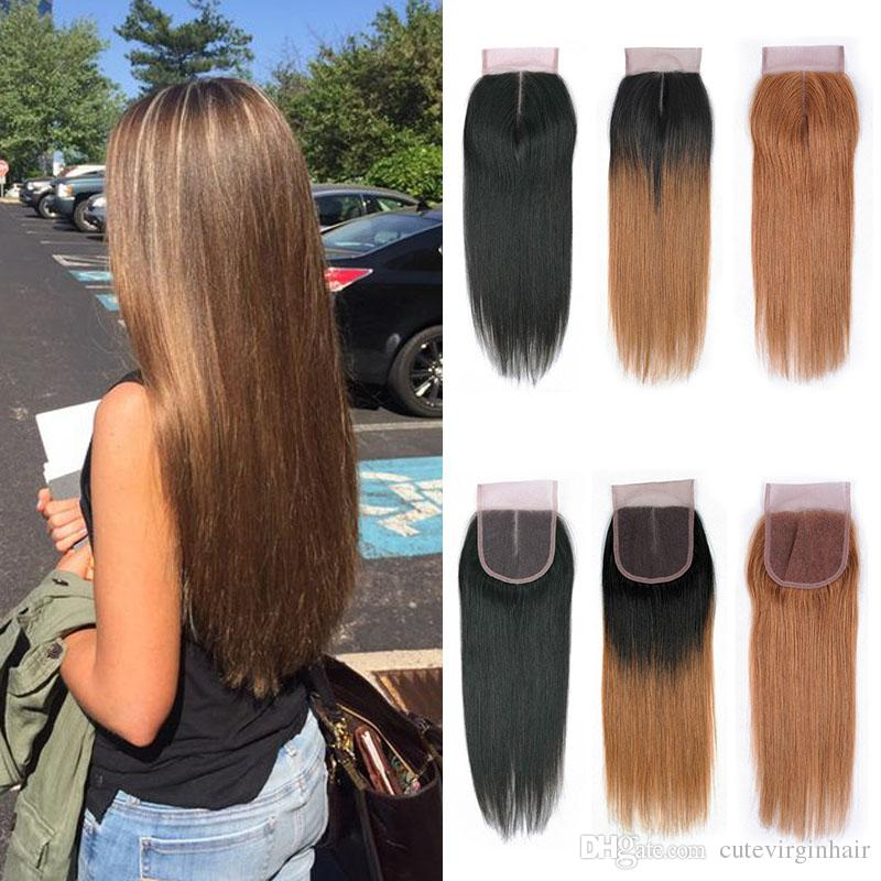 Straight Lace Frontal Colored Hair Closure Natural Black Chestbut
