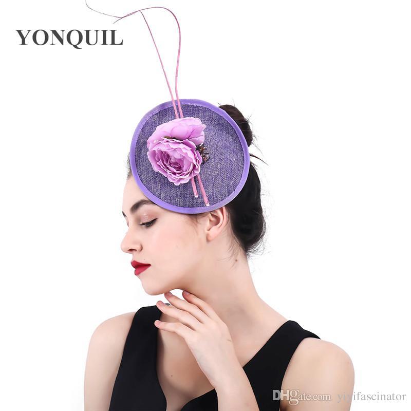 Women Lavender Color Flower Fascinators Hat Bridal Fancy Feather Hair Clips Fascinator  Wedding Headwear Elegant Ladies Headdress SYF382 Hats Ladies Hats ... 684b3b88c39