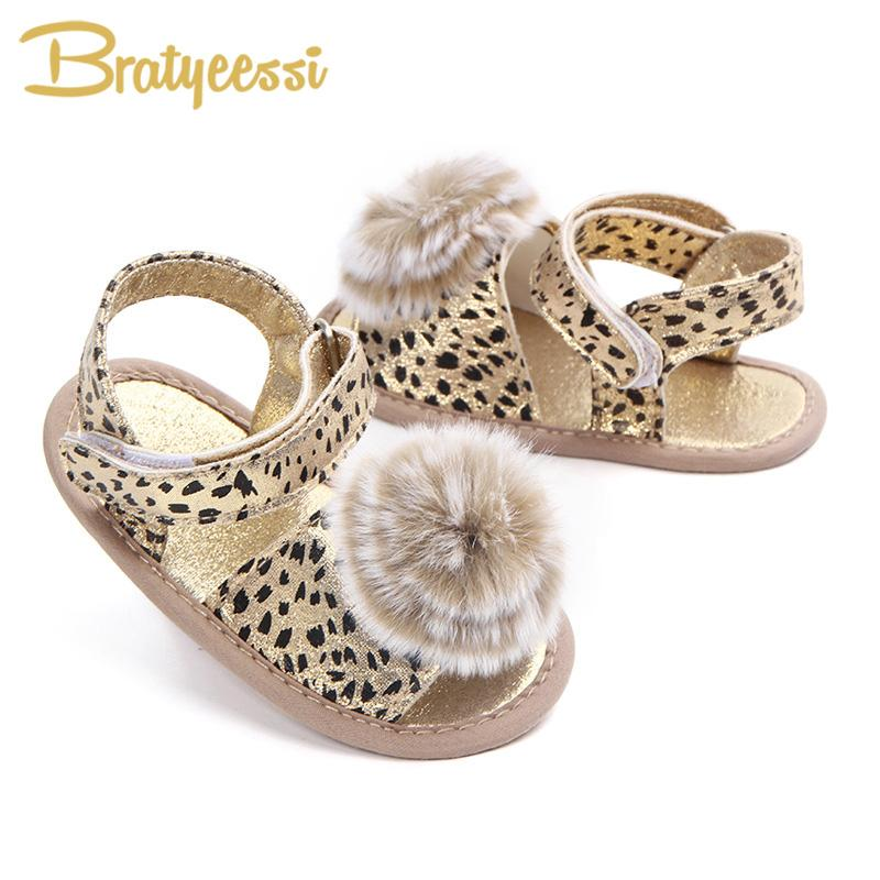 451444e87 Leopard Baby Sandals Girls Fur Pompom PU Leather Summer Baby Girl Shoes  Sandal Anti Slip Soft Toddler Sandals Cute Girl Shoes Little Boys Sandals  From ...