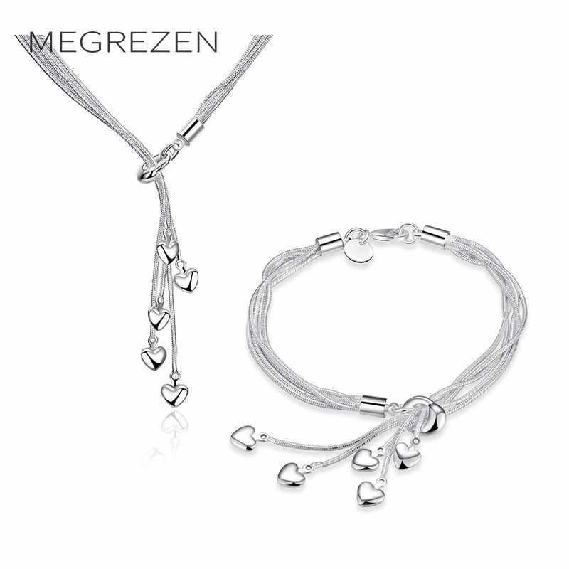1506b89612a09 2019 MEGREZEN Bridal Bracelet Necklace Set Silver Jewelry Sets For Girls  Decorations Bracelets Necklaces Jewelery Conjunto De Joyeria From  Goodwatchgood, ...