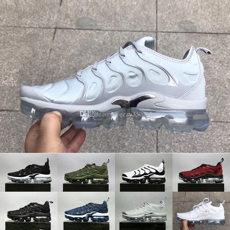 2018 Vapormax TN Plus Olive In Metallic White Silver Colorways Shoes Men  Shoes For Running Male Shoe Pack Triple Black Mens Shoes US7-11 Tn Vapormax  TN ...