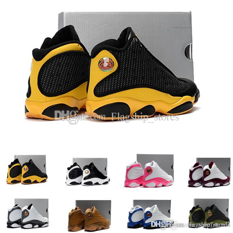 268d806794391e 13 Kids Basketball Shoes Black yellow 13s Dmp Bordeaux Love Respect  Playoffs XIII Sneakers Boy Girl Children Eur28-35 Online with  86.96 Pair  on ...