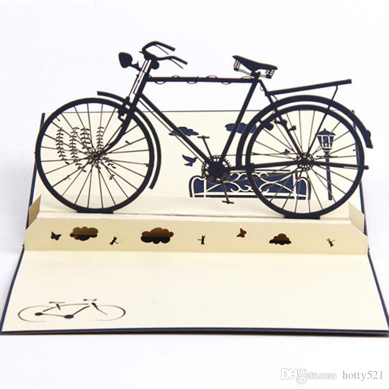 3D Pop Up Handmade Laser Cut Vintage Cards Bike Postcard Birthday Greeting For Lovers Singing Sister From Hotty521