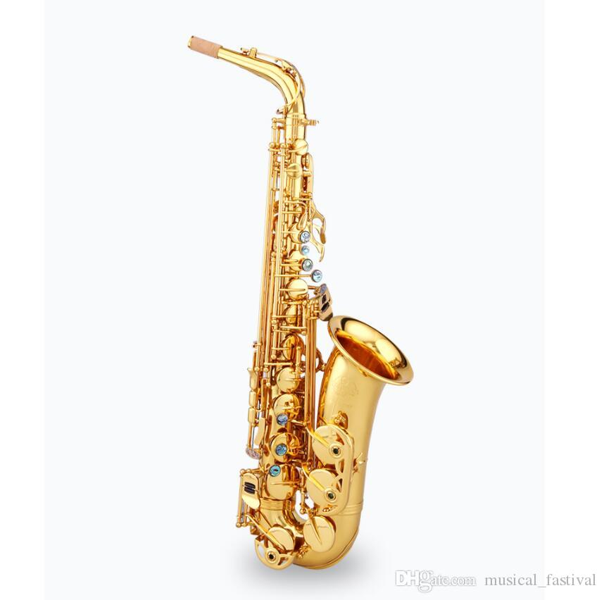 Chinese Brand Original Taishan TSAS-767 E flat Alto Saxophone Gold Lacquer  Abalone Port Button for Adult and Child