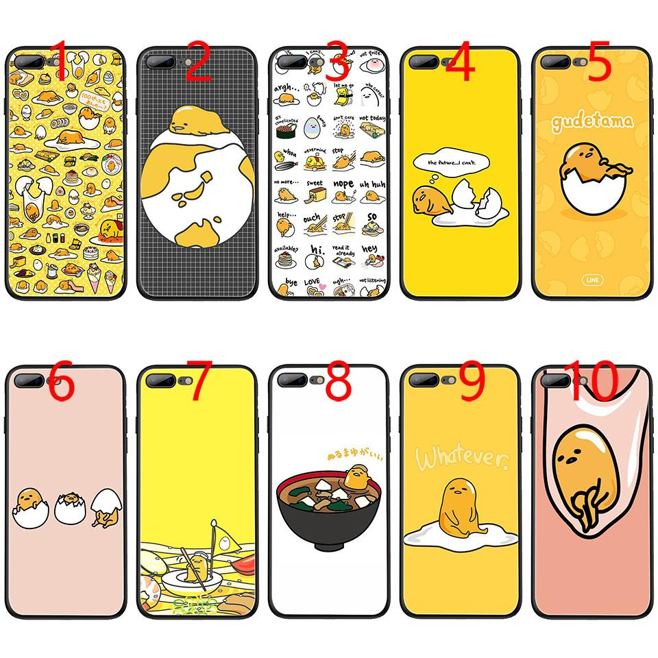 finest selection 52cb9 4b784 cute lovely gudetama lazy egg Soft Black TPU Phone Case for iPhone XS Max  XR 6 6s 7 8 Plus 5 5s SE Cover