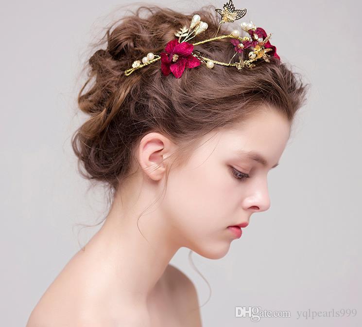 Rote Blume Braut Hochzeit Kopfschmuck Haarschmuck