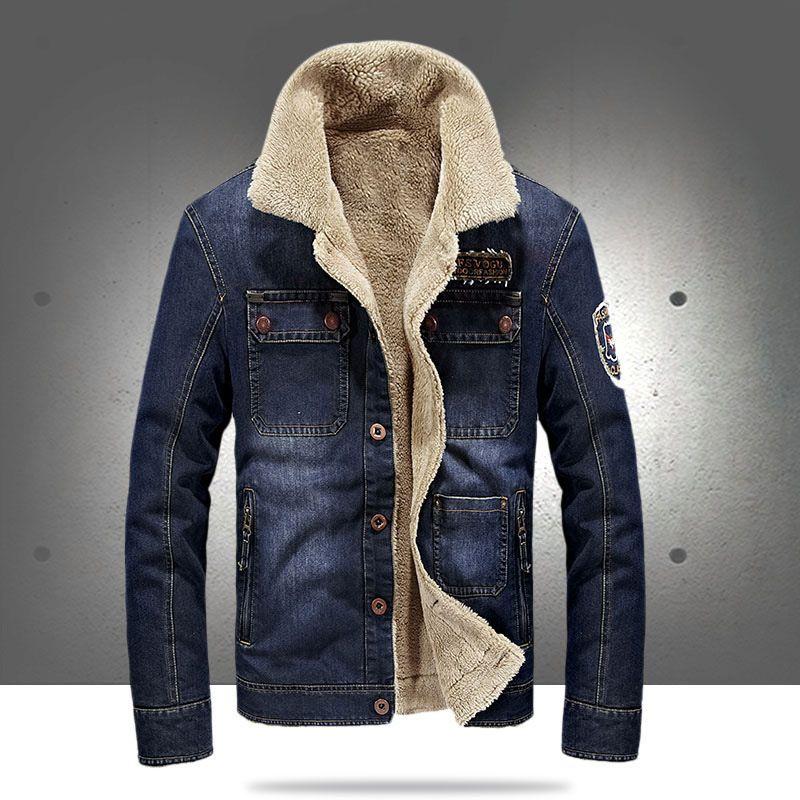4959d1cf546 2018 New Fashion Retro Thicken Fleece Warm Denim Jacket Autumn Winter Men S  Corduroy Jeans Jacket With Fur Collar Loose Coat 4XL Jackets Coats Mens Jean  ...