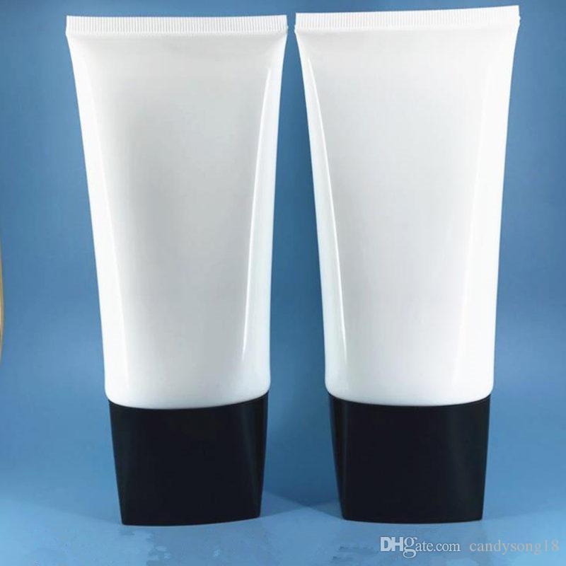 Tube en plastique de PE de lotion de tuyaux de tube plat lumineux blanc de 150g / bouteilles réutilisables essentielles de voyage d'emballage cosmétique F20173715