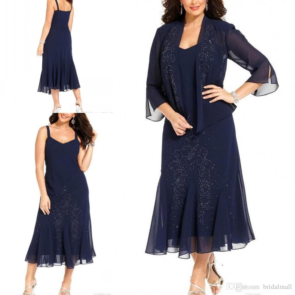 df06c12bb99d8 Tea Length 2019 Dark Navy Chiffon Plus Size Mother Of The Bride Dresses  With Jacket 3/4 Long Sleeves Mother Formal Wear Wedding Guest Dress Mother  Of The ...