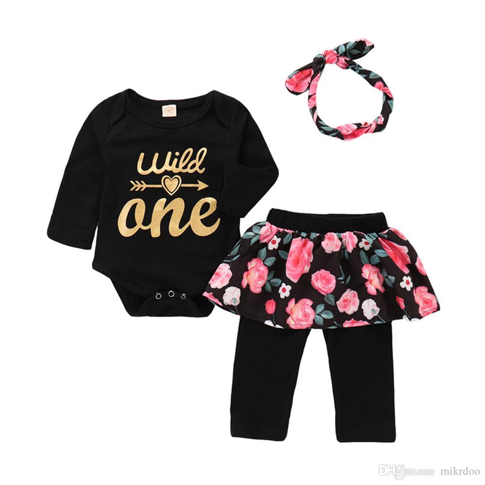 513d66055ba Mikrdoo Toddler Newborn Baby Girls Spring Autumn Fashion Clothes Set Long  Sleeve Letters Print Romper Floral Print Pantskirt Headband Outfit Kids Baby  ...